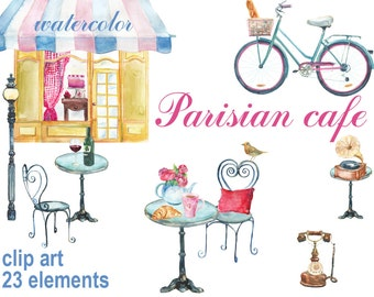 Digital 23 Watercolor Parisian cafe clip art,  food Digital Collage, Valentines Day love clipart, Instant Download, clip 66