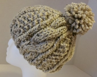 Oatmeal Cable Knit Hat with Pom Pom- Chunky Cable Knit Hat - Pom Pom Cable Hat - Cozy Cable Hat with Pom Pom -Cable Knit Hat