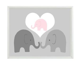 Elephant Nursery Art, Elephant Family, Mom, Dad, Baby, Baby Girl Nursery, Elephant Art Print, Nursery Decor, Pink Gray, Elephant Wall Art