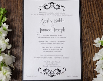 Baroque Wedding Invitation, Black And White Wedding Invitation, black tie Wedding Invitation, Formal Wedding Invitations, Formal Invitations