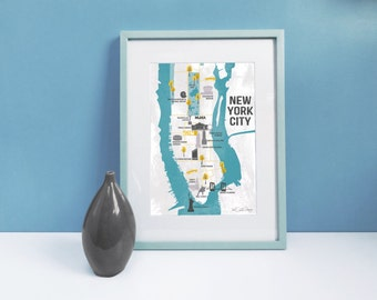 New York City Map / Map Of Manhattan / Gifts For Travelers / New York Map / Illustrated Map / Map Illustration / Retro Map / New York Print