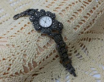 Watch Silver 925 Bracelet Watch with Markasiten UU101