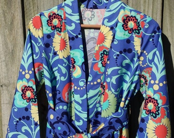 Dressing Robe Featuring Amy Butler Fabric-Bride-Bridesmaid-Floral Robe, Free Shipping