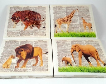 Tiger Print/Tile Coaster/Animal Art Print / Tiger Coaster/Dictionary Art/Dictionary Print/Animal Dictionary/Drinkware/Tiger/Animal Lovers/