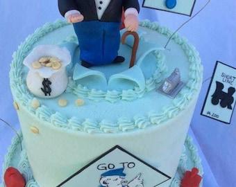 Handmade Edible Monopoly Man Cake Topper