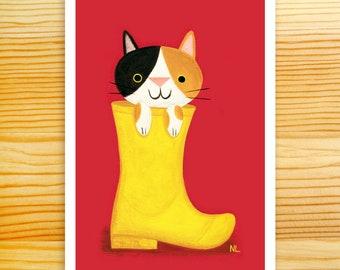 Cat in Yellow Boot 5x7 Art Print