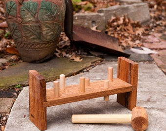 Whack-A-Roo classic pounding toy by BANDY.  Colorful pegs now available.  Local salvaged wood, natural, non-toxic finish.