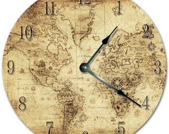 Globe clock etsy 105 old world map clock living room clock large 105 wall clock gumiabroncs Gallery