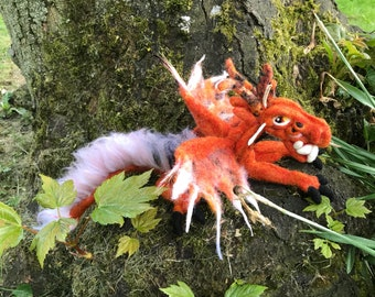 Needle felted mythical, fantasy dragon. Handcrafted ornamental home decor.