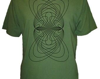 Mens Geometric Oribital Rings Organic Shirt - Mens T Shirt - Geometric - Mens Organic TShirt - Gift Friendly - Hand Screen Printed, Bamboo