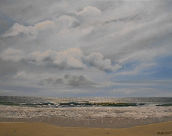 Silver Linings Original Oil Painting 18 X 24 top selling artist beach seascape ocean  sunset
