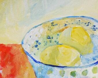 Lemon painting Lemons in a bowl print of original painting