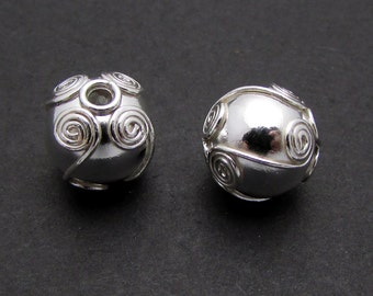 1 Pc, 9mm, Sterling Silver Bead