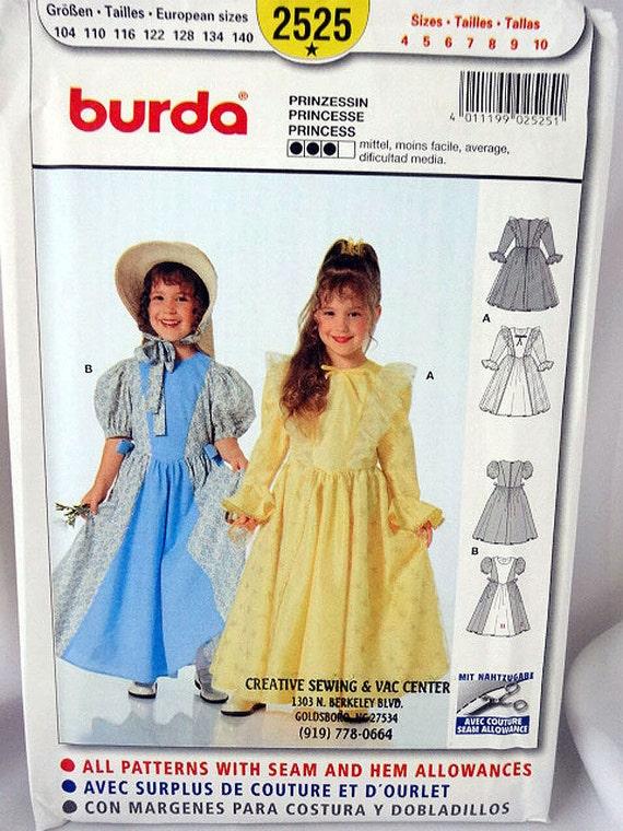 Burda 2525 Kostüm nähen Prinzessin Mädchen Kostüm Muster