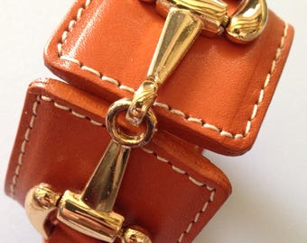 Burnt Orange Leather Cuff
