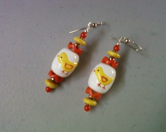 Orange, Yellow and White Easter Duckling Earrings (1232)