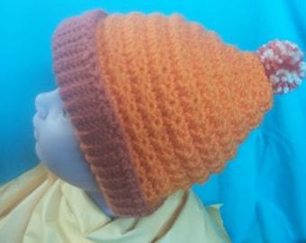 5 Star Winter Beanie Crochet Adult Teen Warm Orange Cap Brim Strechy Pom Pom