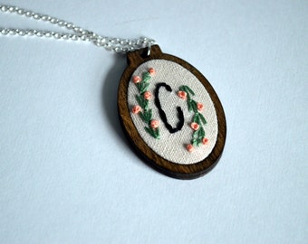 Hand Embroidered Initial Necklace - Monogram Hoop Art Jewelry - Personalized Pendant - Sterling Silver & Wood