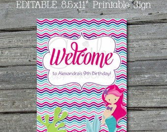 Mermaid Party Welcome Sign | Editable Custom Mermaid Sign | Mermaid Tail | Digital download | Mermaid Party Ideas | Printable Purple Pink