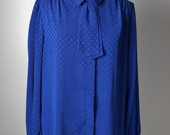 Vintage Yves Venet Royal Blue Ascot Cravat Blouse
