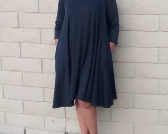 Black Knit Midi Dress, Three Quarter Sleeve Swing Dress~ Ponte Knit Scoop Neck Dress~Side Seam Pockets~All Sizes~ New Colors Added