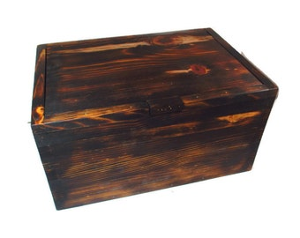 Rustic Chest Keepsake Box - Lodge Decor - Memory Chest - Gift for Him - Wood Box