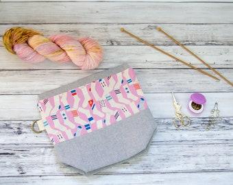 Medium Drawstring Knitting Project Bag/Crochet Project Bag: Socks in Pink Medium Drawstring Project Bag (Knitting Bag, Crochet Bag)