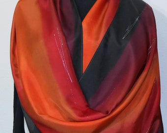 Silk Scarf Handpainted Red Orange Black Handmade Silk Wrap CARIBBEAN SUNSETS, by Silk Scarves Colorado. Select Your SIZE! Birthday Gift