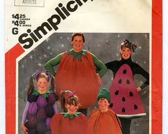 Vintage Simplicity 6192 Adults Felt Fruit Costumes UNCUT Sewing Pattern Strawberry Tomato Pumpkin Watermelon Grapes Men and Women One Size