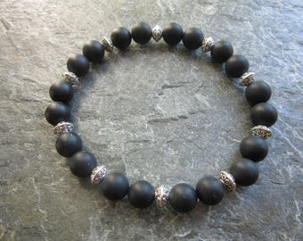 The frosted black agate bracelet (large wrist)! Stretch bracelet in natural frosted black agate 8mm Reiki infused