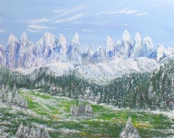 Large Original Art painting impressionist Mountain landscape