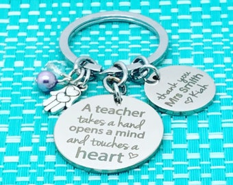 Teacher Gift Idea, Personalized, Personalised Keychain, Gift from Student, Gift For Teacher, Teacher Appreciation, Best Teacher Gift
