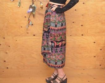 Vintage 80's Beautiful Gem Tone Floral Animal Print Hourglass Wrap Midi Skirt S/M