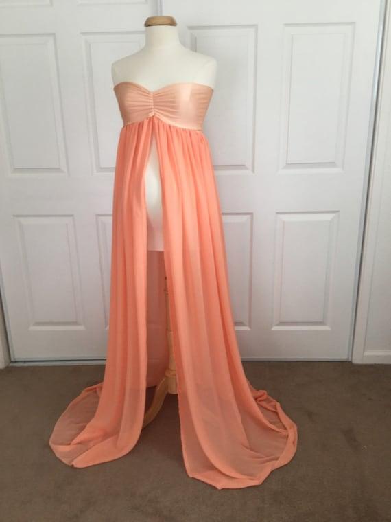 Peach Chiffon Jersey Maternity Gown Maternity Dress/Chiffon