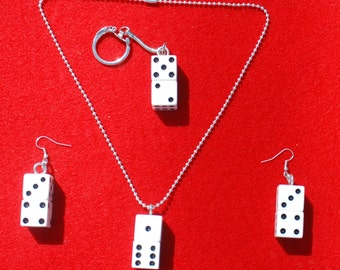 Lucky Seven Dice Earring and Necklace Jewerly Set