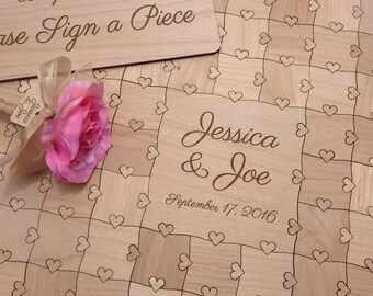 50 pcs Wedding Guest Book Puzzle Custom Puzzle with Heart Tabs