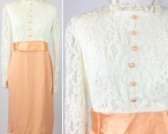 Orange Lace Dress - Peachy Cantaloupe Skirt, Empire Waist, Satin Bow, Buttons, Off White Floral Lace Top, Sheer Sleeves - Vintage 60s