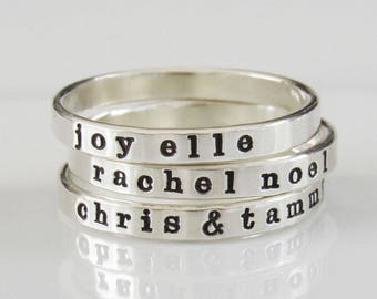Stackable Name Ring, Personalized Ring, Name Ring, Custom Name Ring, Mom Ring, Ring with Names, Sterling Silver Ring, Stacking Ring
