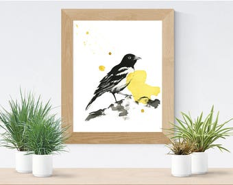 Bird Art Print | Ink and watercolor illustration |  Black and yellow | The Pose | Quality Print | 8x10 | 5x7 | Josianne Dufour art | Animal