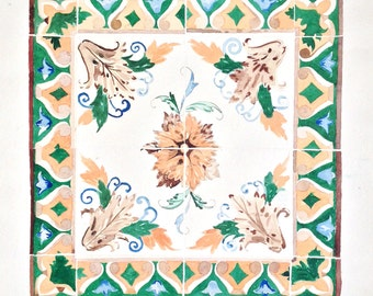Decorative Tile Watercolor on paper -