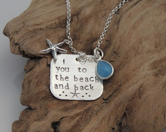 NEW! I love you to the beach and back Necklace-Beach Necklace-Coastal Necklace-Sterling Silver-Virginia Beach-Sea-Sterling Silver-Starfish