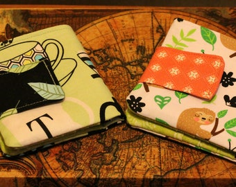 Fabric wallets in a variety of fun and beautiful designs.