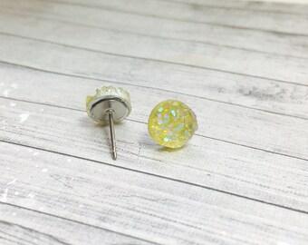 Tiny Lemon Yellow Druzy Earrings, 8mm Round Druzy Earrings, Metallic Glitter Faux Drusy Posts Glittering Stainless Steel Studs