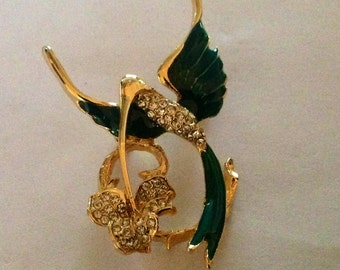 Vintage Covani Rhinestone Hummingbird Brooch