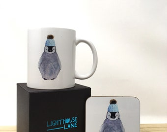 Baby Penguin in Bobble Hat Mug and Coaster in Boxed Gift Set