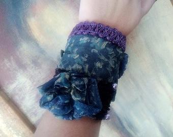 Steampunk wrist cuff bracelet Statement cuff Blue cuff Fabric bracelet Fabric jewelry Boho cuff bracelet Boho wrist cuff Cloth bracelet