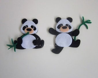 Felt Panda Die Cuts - Pack of 5 - Assembled and Ready To add Straight On To Your Projects