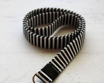 Cute key lanyard - striped lanyard - badge holder lanyard - black lanyard - work lanyard - teachers lanyard - black and white lanyard