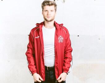 Lightweight SPRING JACKET . Rain Jacket Vintage 90s Men's Jacket Red Shell Jacket Hip Hop Clothing Windbreaker  Outerwear . size Medium