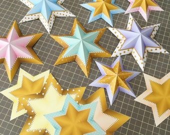 3D star papercraft kit, Printable 3d papercraft kids, 3d paper stars garland, 3d star garland, Printable Papercraft DIY Kit, Papercraft kids